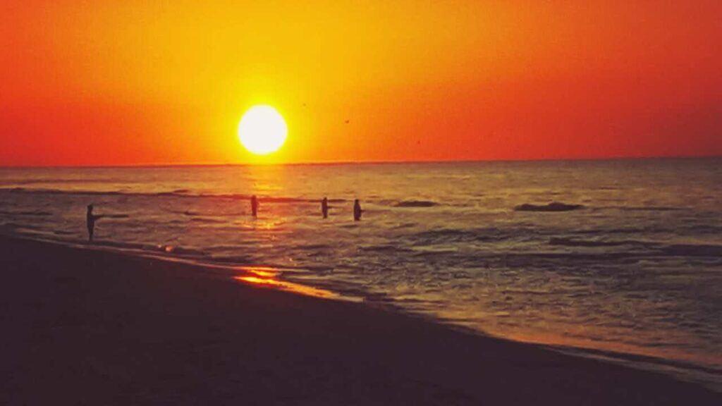 surf fishing at sunrise on Matagorda Beach Texas