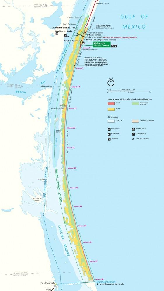 Map of Padre Island National Seashore