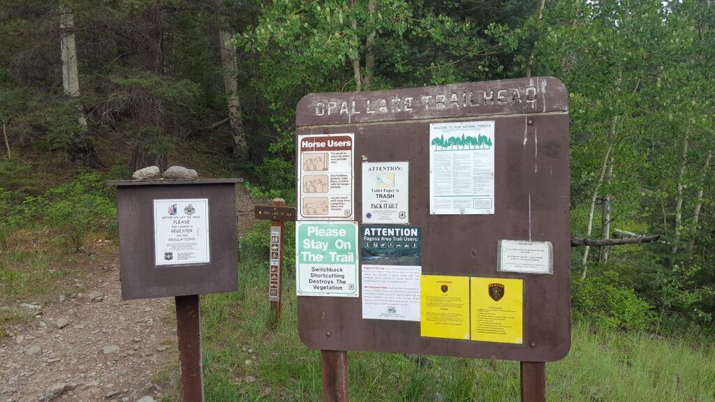 Opal Lake trail head