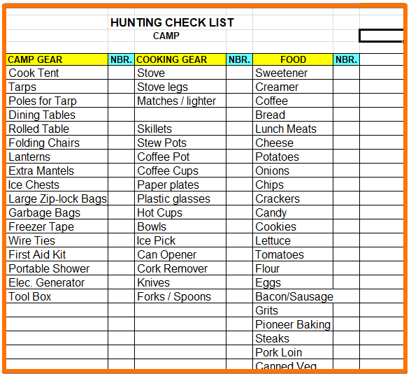 Camp gear check list - outfitting a colorado elk hunt