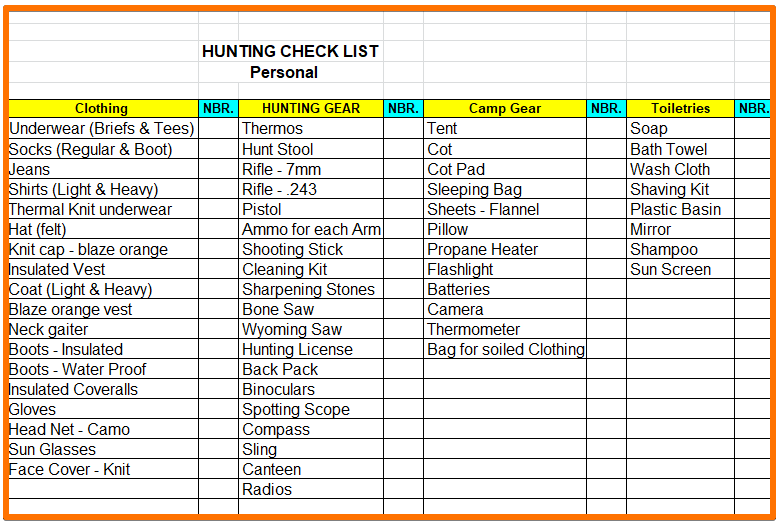 personal gear list - outfitting a colorado elk hunt