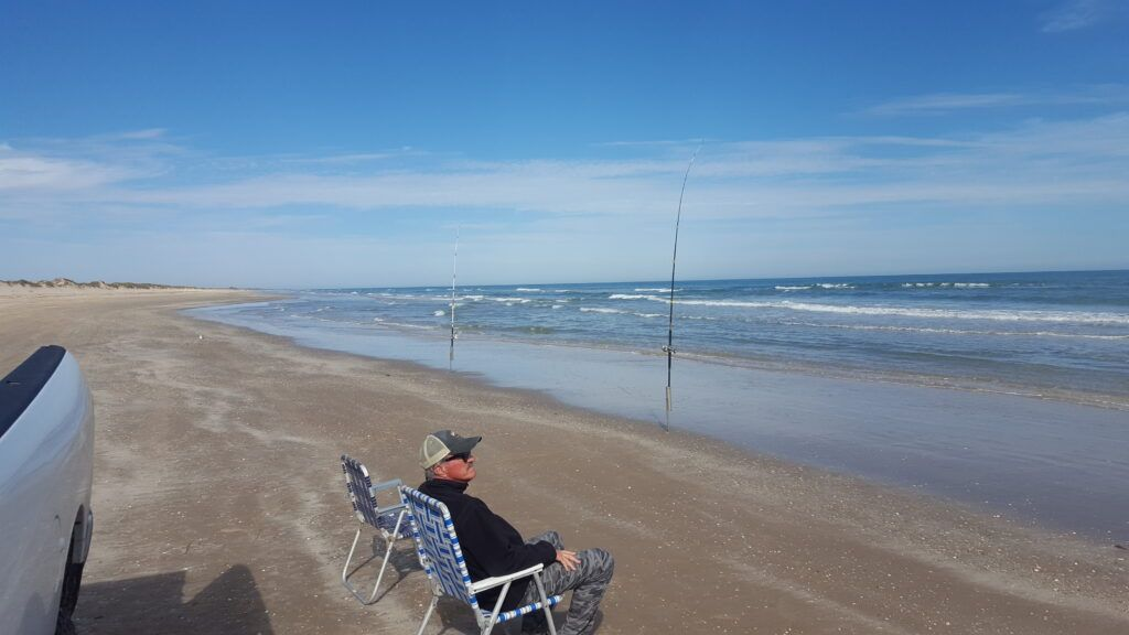 surf fishing - Texas wintertime surf fishing