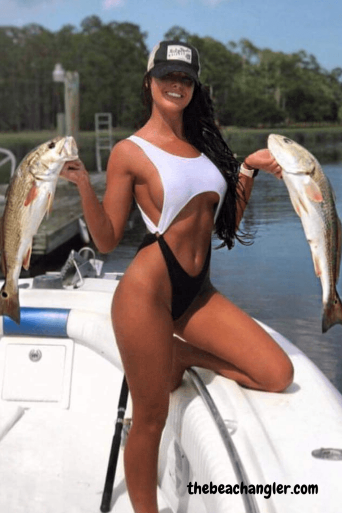 fishing lady with a double on redfisth