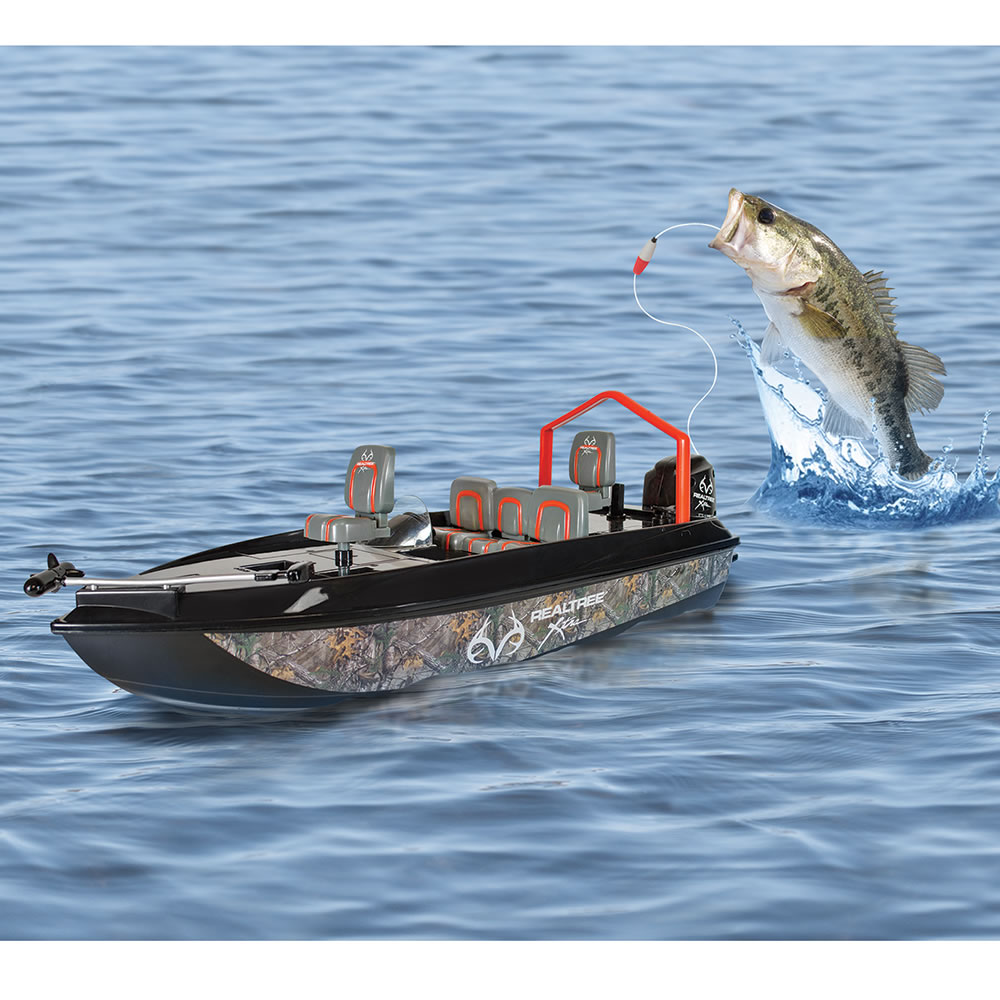 RC fishing boat catching a bass