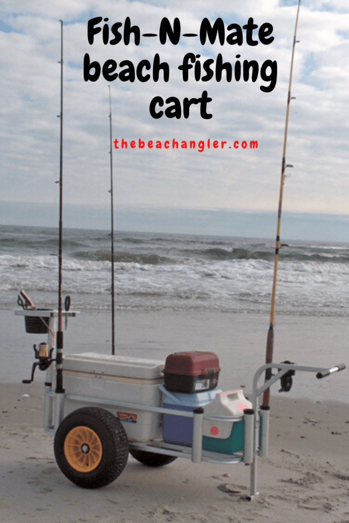 FISH N MATE SR BEACH CART ON THE BEACH AND LOADED WITH GEAR