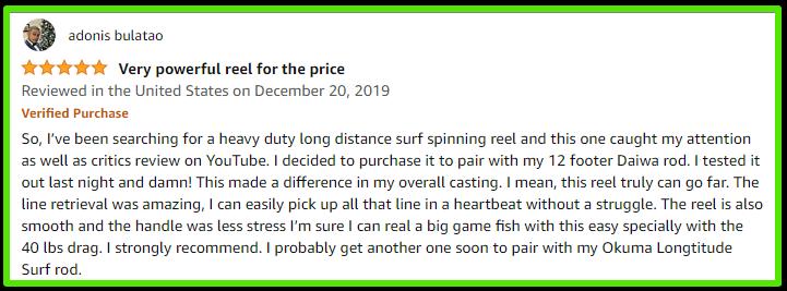 Okuma 8K Surf Spinning Reel customer review - Okuma Surf Reels