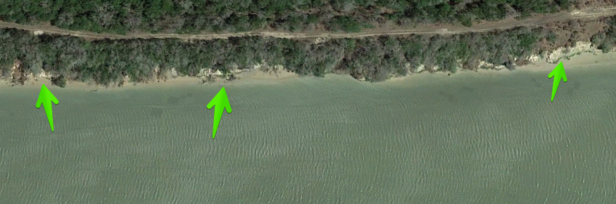 fishing areas - oyster shell on hte banks is a good indication of a shell bottom that can hold fish