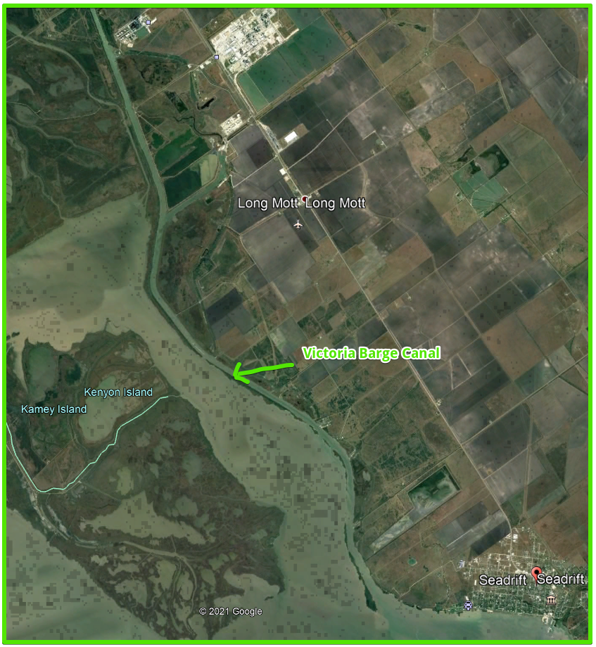 new fishing areas - Victoria Texas Barge Canal satellite image